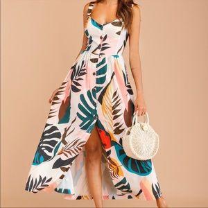 Boho tropical leaves print sweetheart neck dress